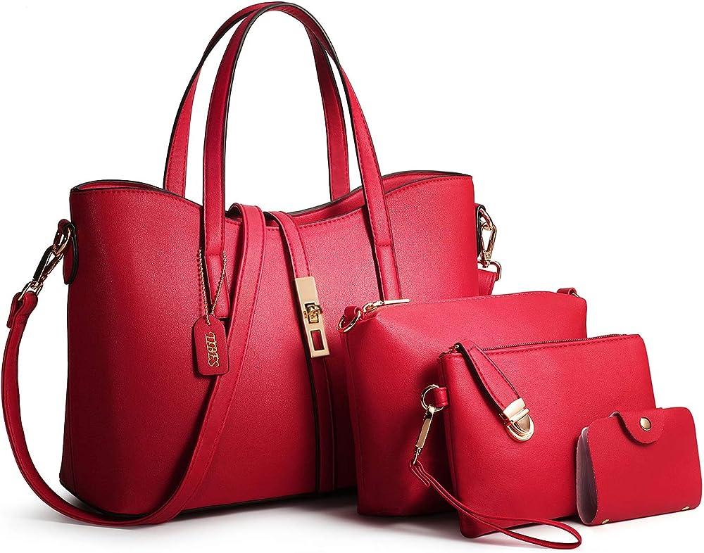 Tibes set di borse da 4 pezzi per donna in pelle sintetica 111shoutibao41-jiuhongse
