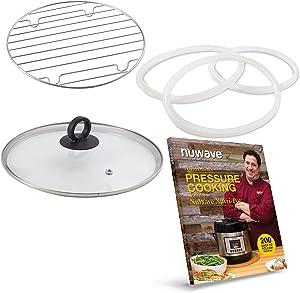 NuWave Accessory Bundle for 6QT NuWave Nutri-Pot Digital Pressure Cooker – Genuine Parts from Original Manufacturer, Tempered Glass Lid, Cooking Rack, 3 Silicone Gaskets & 200-Recipe Cookbook
