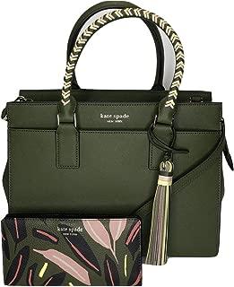 Kate Spade New York Cameron Medium Satchel WKRU5986 bundled with matching Slim Bifold Wallet (Sapling/Green)