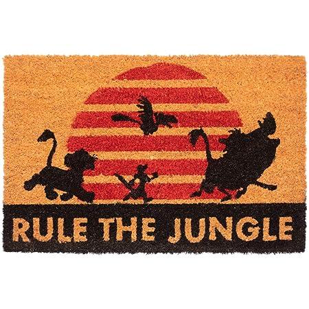 Grupo Erik | Zerbino ingresso casa Il Re Leone, Rule the Jungle, Fabbricato in fibra di cocco e con una base in PVC antiscivolo, 40x60 cm