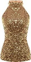 ACSUSS Women's Shiny Sequins Embellished Halterneck Summer Short Vest Tank Tops