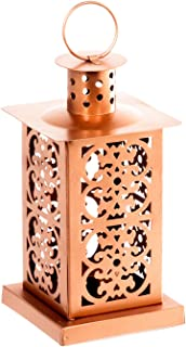 Hanging Candle Holder – Pillar Candle Holder or Tealight Candle Holder with Gold or Copper Finish – Decorative Lantern Candle Holder for Party, Home, or Patio Lantern Decor (copper)