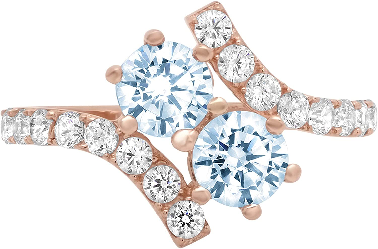 1.98 ct Round Cut 2 stone love Solitaire Natural Swiss Blue Topaz Gemstone Ideal VVS1 Engagement Promise Statement Anniversary Bridal Wedding with accent Ring 14k Rose Gold