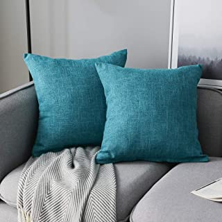 Best Anickal Set of 2 Lake Blue Pillow Covers Cotton Linen Decorative Square Throw Pillow Covers Cushion Case 18x18 Inch for Farmhouse Sofa Couch Home Decoration Reviews