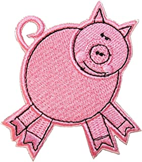 ID 0721B Pink Porky Pig Patch Swine Farm Animal Embroidered Iron On Applique