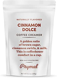 PRYMAL Cinnamon Dolce Coffee Creamer - Keto, Non Dairy, Sugar Free - 100% Natural, Non Refrigerated Powder with MCT - 11.3...