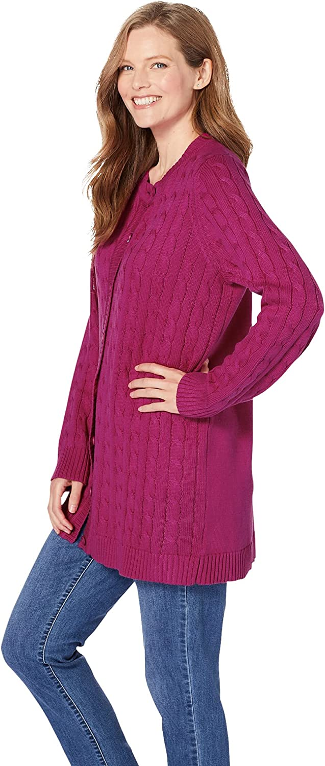 Woman Within Women's Plus Size Cable Knit Cardigan Sweater
