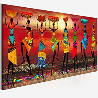 YJGYMZ Cuadros Etnicos Tribal Art Paintings African Women Dancing Oil Painting Picture for Living Room Canvas Print Home Decor (Size (Inch) : 70x210cm no Frame)