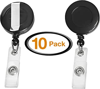 Retractable Clip-On ID Badge Holder with Reel, Retractable Lanyard Badge Clip reels, Badge Reel Retractable Card Holder. 30 inch Reel with Metal Belt Clip, Bulk Pack of 10