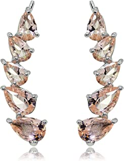 Sterling Silver Teardrop Simulated Morganite Curved Climber Crawler Earrings