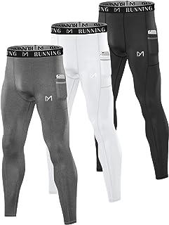 MEETYOO Leggings Uomo, Calzamaglia Compressione Pantaloni Running Tights Sportive Calzamaglie per Jogging Fitness Palestra