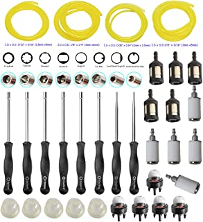 HIFROM Carburetor Tune-up Adjustment Tool Kit Carb Adjusting Screwdriver with Fuel Line Fuel Filter Primer Bulb for 2 Cycle Small Engine Craftsman Stihl Poulan