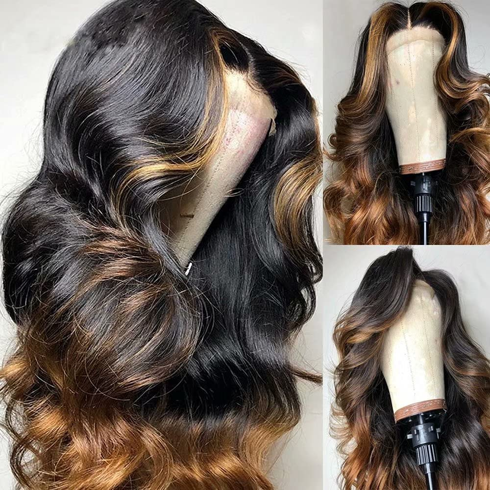 #1B Brown Ombre Highlight Color 13x4 Sale item HD Max 67% OFF Transparent Front Lace H