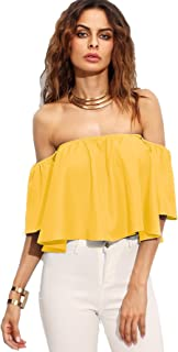 SheIn Women's Boho Ruffle Off Shoulder Bell Sleeve Crop Top Blouse