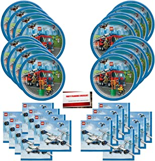 Lego City Happy Birthday Party Supplies Bundle Pack for 16 Guests (Plus Party Planning Checklist by Mikes Super Store)