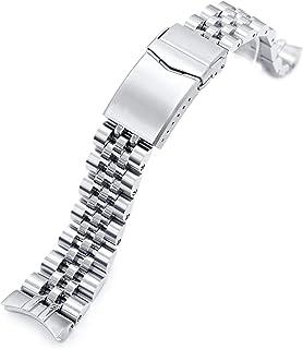 Strapcode - Bracciale per orologio Angus-J Louis 316L, in acciaio inox, 22 mm, con chiusura a V spazzolata