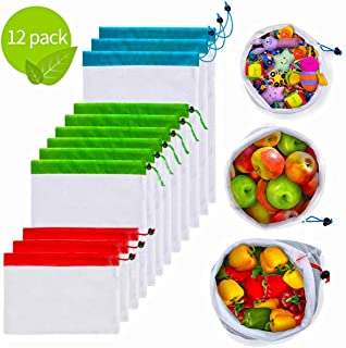 Reusable Mesh Produce Bags, 12 pcs Washable Reusable Produce Bags Premium Eco Friendly Mesh Bags with Drawstring for Fruit, Vegetable, Toys, Grocery and Toys
