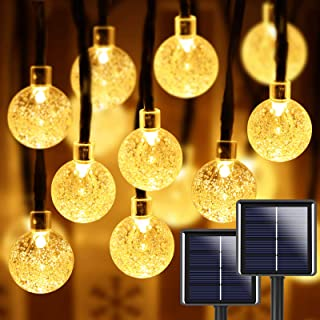 2-Pack 100 LED 32FT Crystal Globe Solar String Lights Outdoor, Waterproof Solar Lights Outdoor Decorative with 8 Lighting ...