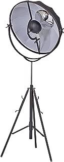Benjara Benzara BM191483 Adjustable Metal Floor Lamp with Round Fabric Shade, Small, Black
