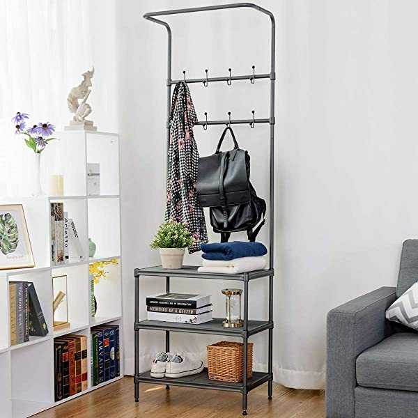 Tangkula Entryway Hall Tree Multi Purpose Metal Coat And Shoe Bench Rack 3 Tier Storage Shelves Bag Clothes Umbrella And Hat Rack For Entryway Corner Hallway Garment Rack 8 Hooks
