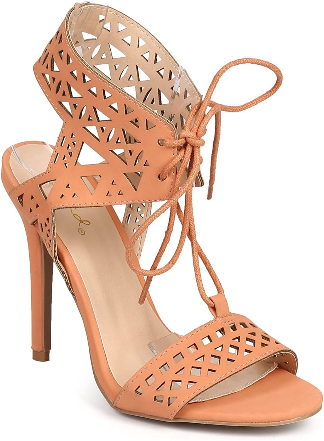 Qupid DI78 Women Tribal Open Toe Hollow Out Stencil Lace Up Stiletto Sandal - Melon