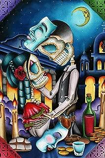 Black Market Art Masquerade by Dave Sanchez Skeleton Sugar Skull Lovers Tattoo Paper Art Print