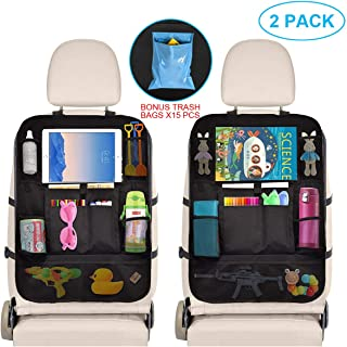 Car Organizer Back Seat - Car Accessories Storage Organizer with Touchscreen Tablet Holder Multi-Pocket - Car Seat Back Protector Kick Mats - Automotive Travel Accessories for Kids Toddlers (2 Pack)