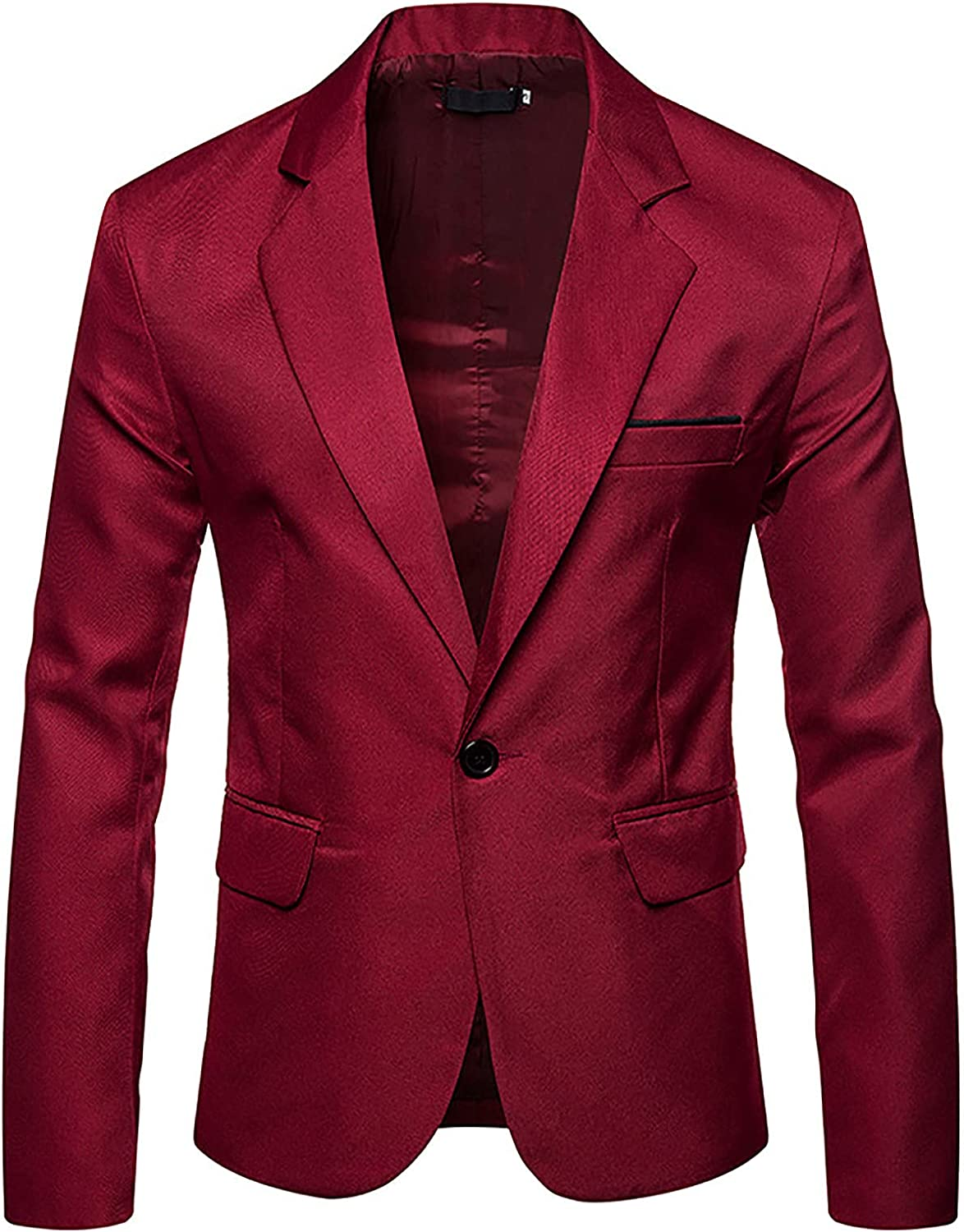 Bravetoshop Men's Fashion Single-Breasted Suit Jacket One Button Slim Fit Business Wedding Party Casual Blazer Jacket