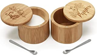 Salt & Pepper Bamboo Box Set with Salt Spoons