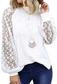 Womens Lace Tops Elegant Round Neck Shirts Casual Pure...