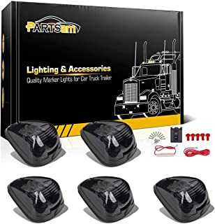 Partsam Smoke Cab Lights Amber LED Top Roof Running Marker Light 15442 Assembly w/Wiring Pack Compatible with Ford F150 F250 F350 1999-2016 Super Duty Pickup Trucks