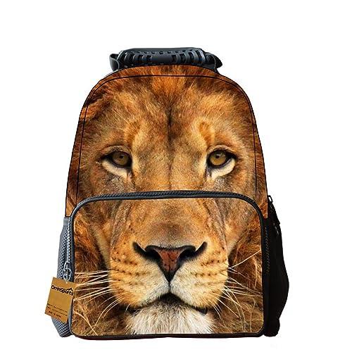 5d4c3e56ee40 OrrinSports Felt Fabric School Backpack Bags 3D Animal Print Cute Hiking  Laptop Daypacks Lion-16