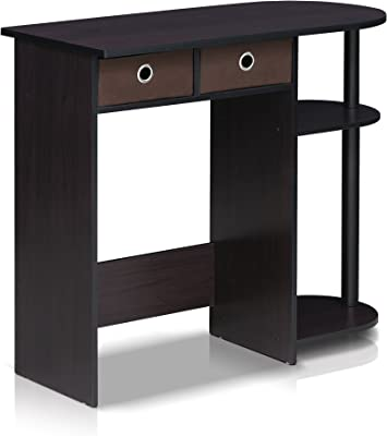 Furinno Go Green Home Laptop Notebook Computer Desk/Table, with 2 Bin Drawers, Dark Walnut