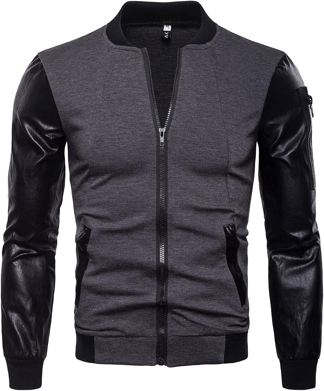 Men Leather Jackets,Vintage Classic Leather Zip Up Biker Bomber Jacket V1846