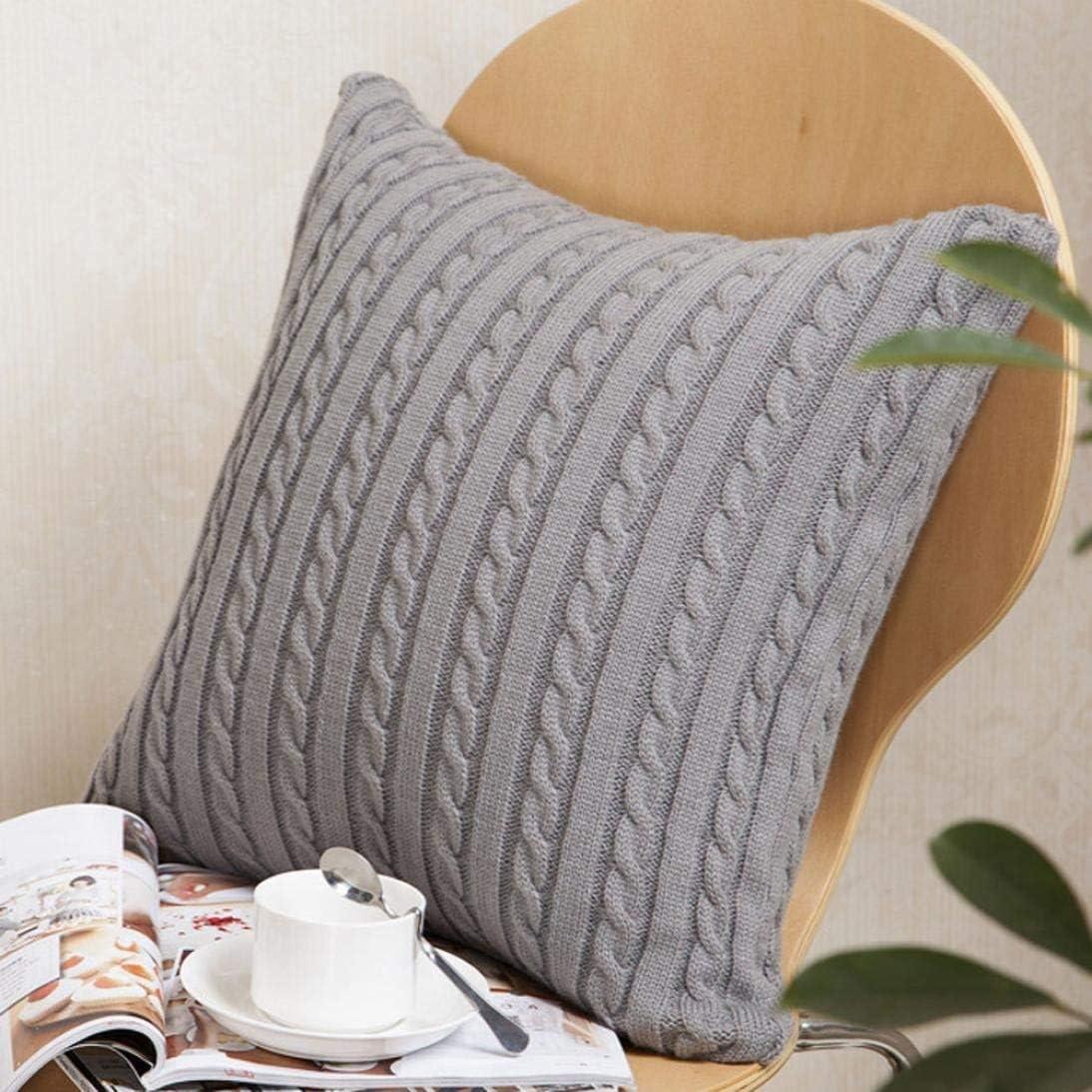 Giow Taie d'oreiller Couvre, taie d'oreiller décoratif à Tricoter Mode Throw taies d'oreiller Cafe Sofa Taie d'oreiller (Couleur: Blanc) Gray