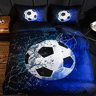 CYHLG Funda de Edredón 150x200 cm Ball Sports Seriespatrón Creativo de Fútbol Azul de Microfibra Impresa Juego de Funda de Nórdica y Fundas de Almohada 2 Piezas - Soltero
