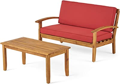 Christopher Knight Home Peyton Outdoor Acacia Wood Loveseat and Coffee Table Set with Water Resistant Cushions, Teak Finish / Red