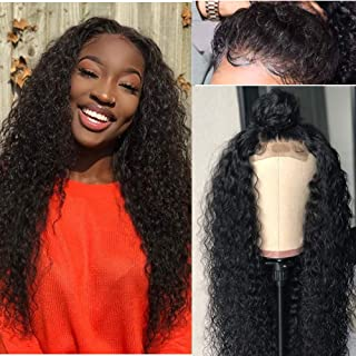 ALOT Curly Lace Front Wigs Human Hair Pre Plucked Peruvian Kinky Curly Lace Frontal Wig with Baby Hair for Black Women (22 inch, curly)
