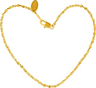 Lifetime Jewelry Anklets for Women Men and Teen Girls - 24K Gold Plated 1.5mm Twisted Nugget Chain - Durable Anklet for Be...