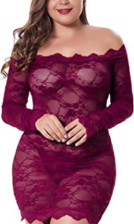 Sexy Lingerie Off Shoulder Stretchy Chemise Floral Babydoll Lace Slim Bodysuits Nightwear Party