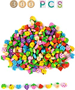 300PCS Assorted Mini Novelty Pencil Erasers,Fruit and Animals Collection Erasers for Student Prize Homework Awards Party Gifts School Supplies