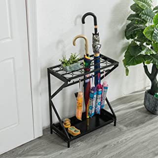 Yxsd Umbrella Stand Umbrella Rack Metal Free Standing Holder, for Canes/Walking Sticks, with Drip Tray, 52x25x60 cm (Color : Black)