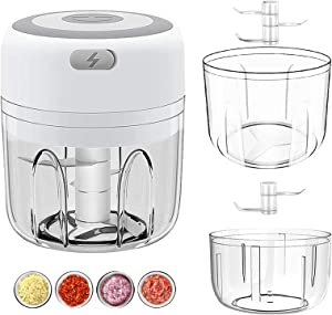 INDARUN Wireless Portable Electric Mini Garlic Chopper, Small Food Processor Mincer Blender Food Crusher for Baby Food/Chili/Onion/Vegetables/Fruits, Electric Food Chopper with USB Charging (250ML+100ML Bowl)