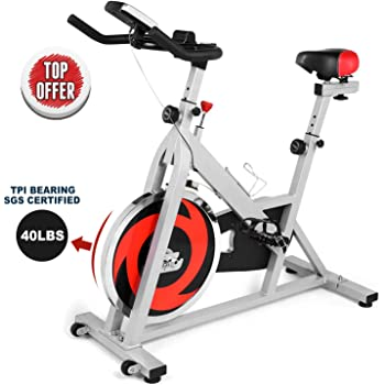 ANCHEER Indoor Cycling Bike Stationary, Belt Drive Exercise Bike with Comfortable Seat Cushion, Workout Bikes with LCD Monitor, for Home Office Exercise (Silver)
