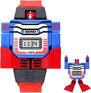 Songlin@yuan  Remodeling Toy Shape Replacement Detachable dial Digital Sports Children's Watch with PU Plastic Strap Fashion (Color : Red)