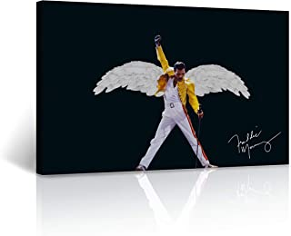 Buy4Wall Freddie Mercury Canvas Print Angel Wind Legend Queen Motivational Wall Art Home Decor Stretched - Ready to Hang -%100 Handmade in The USA - 8x12