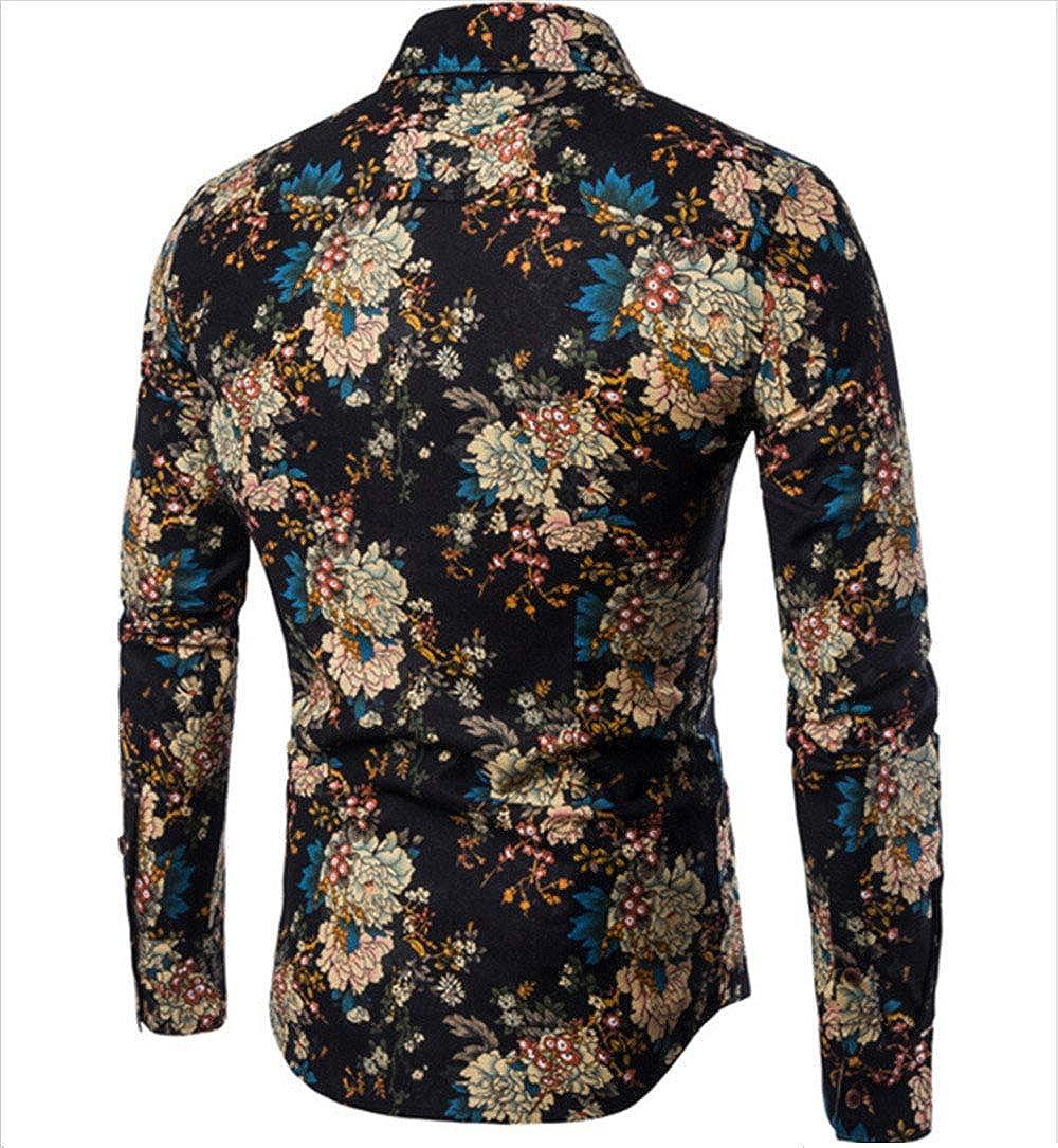 Men's Floral Dress Shirt Long Sleeve Casual Button Down Floral Shirts