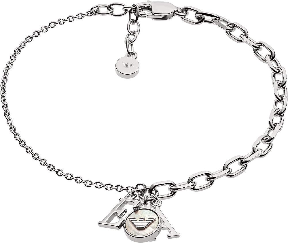 Emporio armani braccialetto a catenina donna argento EG3387040