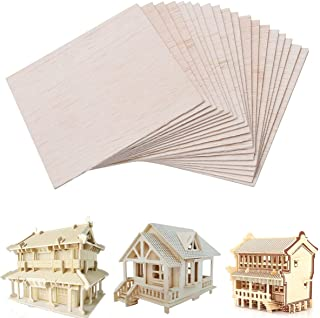 Unfinished Wood Sheet DIY Supplies Blank Wooden Plate Model Slices Wooden Squares Cutouts Home Decoration 4 x 4 inches 1mm 20 Pieces