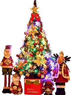 ZYDSN Christmas Tree Large Christmas Tree with Box Sturdy Base Artificial Christmas Tree with -4 Santa DIY Branches LED St...